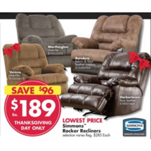 Simmons  Worthington Chenille Rocker Recliner