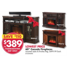 "Cherry 60"" Console Fireplace"