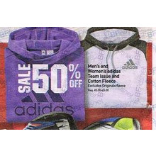 Adidas Mens Cotton Fleece Hoodie 50% OFF