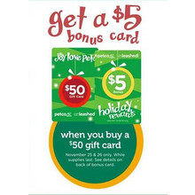 $5.00 Bonus Card w/ $50 Gift Card Purchase FREE