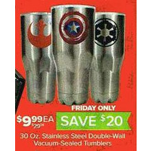 Stainless Steel 30-oz. Double-Wall Vacuum-Sealed Tumblers (Assorted Styles)