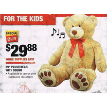Tan 59-in. Plush Bear w/Sound