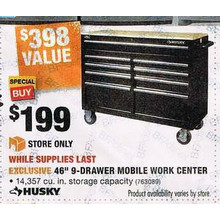 Husky 46-in. 9-Drawer Mobile Work Center