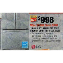LG Electronics 25.4 cu. ft. 3-Door French Door Refrigerator in Stainless Steel-LFCS25426S