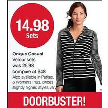 Onque Womens Petite Casual Velour Set (Assorted)