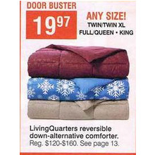 LivingQuarters Full/Queen Reversible Down-Alternative Comforter