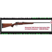 Chance to Win Browning AB3 Hunter Bolt-action Rifle in 6.5mm Creedmoor First 600 Customers