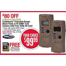 Cuddeback Extended-Range Black Flash 20MP Trail Camera + 16GB SD Card
