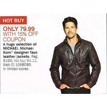Michael Kors Designer Mens Faux Leather Jackets