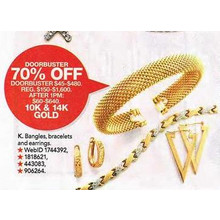 10k & 14k Gold Earnngs Bracelets & Bangles - 70% OFF