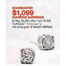 TruMiracle Diamond Stud Earrings in 14k White Gold (1-1/2 ct. tw.)
