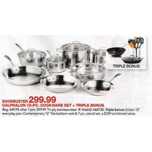 Calphalon Tri-Ply Stainless Steel 13-Pc. Cookware Set + FREE Wok, Everyday Pan & Utensil Set / A $339 value