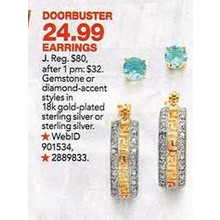 18k Gold over Sterling Sterling 2-cttw. December's Birthstone Swiss Blue Topaz Stud  Earrings