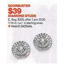 Diamond Stud 1/-cttw.Earrings in Sterling Silver