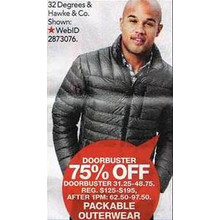 Hawke & Co. Outfitter Mens Packable Down Jacket 75% OFF