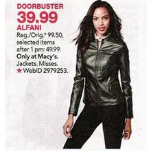 Alfani Womens Seamed Faux-Leather Jacket