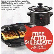 Bella Slow Cooker  FREE After Rebate