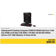 CyberpowerPC Desktop Computer Syber M VR350 Intel Core i7 6th Ge 6700K (4.00GHz) 8 GB DDR4 2 TB HDD 120 GD SSD NVIDIA GeForce GTX 1060 Windows 10 Home 64-Bit - Save $300
