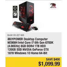 iBUYPOWER Desktop Computer NE900H Intel Core i7 6th Gen 6700K (4.00GHz) 8Gb DDR4 1TB HDD 120GB SSD NVIDIA GeForce GTX 1070 Wndows 10 Home 64-Bit- Save $400