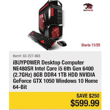 iBUYPOWER Desktop Computer NE480SR Intel Core i5 6th Gen 6400 (2.7GHz) 8Gb DDR4 1TB HDD NVIDIA GeForce GTX 1050 Windows 10 Home 64-Bit- Save $250