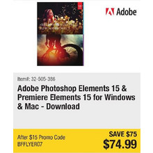 Adobe Photoshop Elements 15 & Premiere Elements 15 for Windows & Mac - Download - Save $75 - BFFLYER07