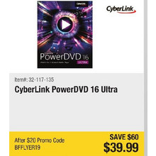 CyberLink PowerDVD 16 Ultra - Save $60 - BFFLYER19