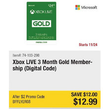 Xbox LIVE 3 Month Gold Membership (Digital Code) - Save $12.00 - BFFLYER08
