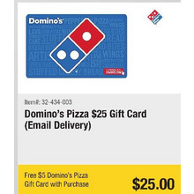 Domino's Pizza $25 Gift Card (Email Delivery