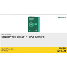 Kaspersky Anti-Virus 2017 - 3PCs (Key Card) - Save $40 - BFFLYER20
