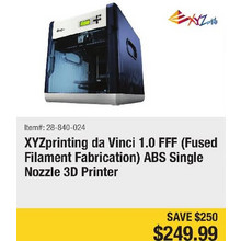XYZprinting da Vinci 1.0 FFF (Fused Filament Fabrication) ABS Single Nozzle 3D Printer - Save $250