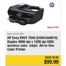 HP ENVY 7640 (E4W43A#B1H) Duplex 4800 dpi USB/Wireless Color Inkjet All-in-one Color Printer - Save $100