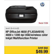 HP OfficeJet 4650 (F1J03A#B1H) 4800 x 1200 dpi USB/Wireless color inkjet Multifunction Printer - Save $50