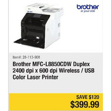 Brother MFC-L8850CDW Duplex 2400 dpi x 600 dpi Wireless/USB Color Laser Printer - Save $120