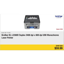 Brother HL-L2300D Duplex 2400 dpi x 600 dpi USB Monochrome Laser Printer - Save $30