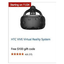HTC VIVE Virtual Reality System - Free $100 gift code