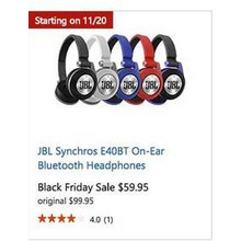 JBL Synchros E40BT On-Ear Bluetooth Headphones