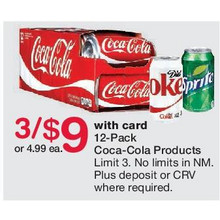 12-Pack Coca-Cola Products or Dr Pepper - 3 for $9