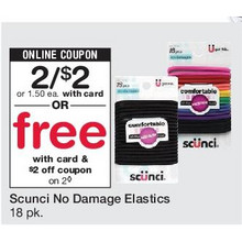 Scunci No Damage Elastics - 2 for $2 or Free & $2 Off Coupon