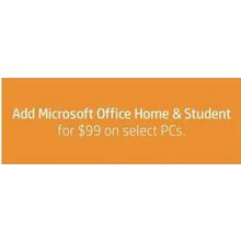 Add Microsoft Office Home & Student For $99 select PCs.