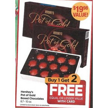 Hershey's Pot of Gold Boxed Chocolates 8.7 - 10 oz. - Buy 1 Get 2 Free Equal or Lesse Value with Card