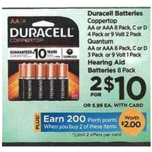 Duracell Batteries Coppertop C 4 Pack - 2 for $10
