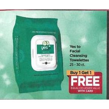 Yes to Facial Cleansing Towekettes - Buy 1 Get 1 Free