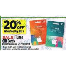 Itunes Gift Cards - 20% OFF When You Buy Any 2