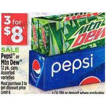 Pepsi or Mountain Dew 12 pk. cans assorted varieties - 3 for $8