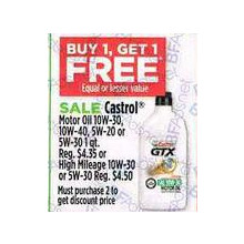 Castrol Motor Oil 10W-30, 10W-40, 5W-20 or 5W-30 1qt - must purchase 2 to get discount price - BUY 1, Get 1 FREE equal or lesser