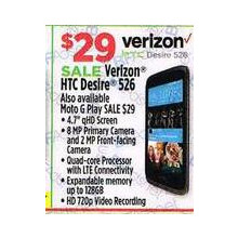 Verizon HTC Desire 526 4.7 QHD Screen , 8MP Primary Camera And 2MP Front Facing Camera , Quad core Processor , Expandable memory up to 128GB , HD 720p Video Recording