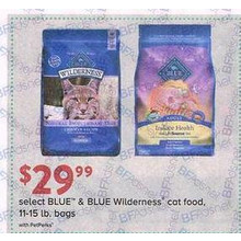 Select BLUE & BLUE Wilderness Cat Food, 11-15 lb. bags