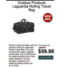 Outdoor Products Laguardia Rolling Travel Bag - Save 40%