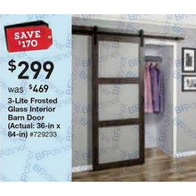 Iron-Aged Grey 3-Lite Frosted Glass Interior Barn Door (36 x 84-in.)