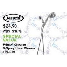 Jacuzzi Primo Chrome 6-Spray Hand Shower